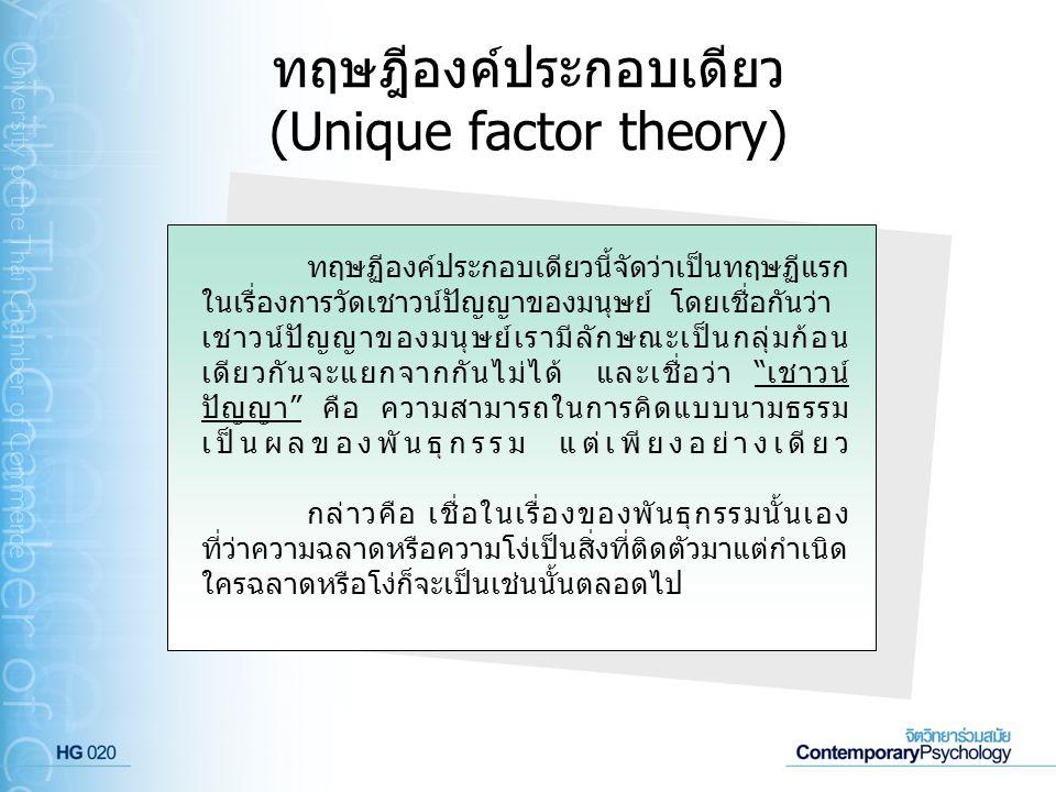 ทฤษฎีองค์ประกอบเดียว (Unique factor theory) ทฤษฏีองค์ประกอบเดียวนี้จัดว่าเป็นทฤษฏีแรก ในเรื่องการวัดเชาวน์ปัญญาของมนุษย์ โดยเชื่อกันว่า เชาวน์ปัญญาของ