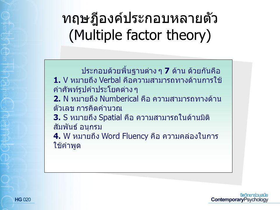 ทฤษฎีองค์ประกอบหลายตัว (Multiple factor theory) ประกอบด้วยพื้นฐานต่าง ๆ 7 ด้าน ด้วยกันคือ 1. V หมายถึง Verbal คือความสามารถทางด้านการใช้ คำศัพท์รูปคำป