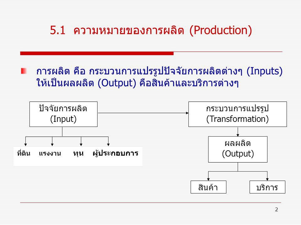 2 5.1 ความหมายของการผลิต (Production) การผลิต คือ กระบวนการแปรรูปปัจจัยการผลิตต่างๆ (Inputs) ให้เป็นผลผลิต (Output) คือสินค้าและบริการต่างๆ ปัจจัยการผลิต (Input) ที่ดิน แรงงาน ทุน ผู้ประกอบการ ผลผลิต (Output) สินค้าบริการ กระบวนการแปรรูป (Transformation)