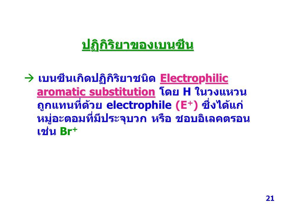 ปฏิกิริยาของเบนซีน Electrophilic  เบนซีนเกิดปฏิกิริยาชนิด Electrophilic aromatic substitution aromatic substitution โดย H ในวงแหวน ถูกแทนที่ด้วย elec