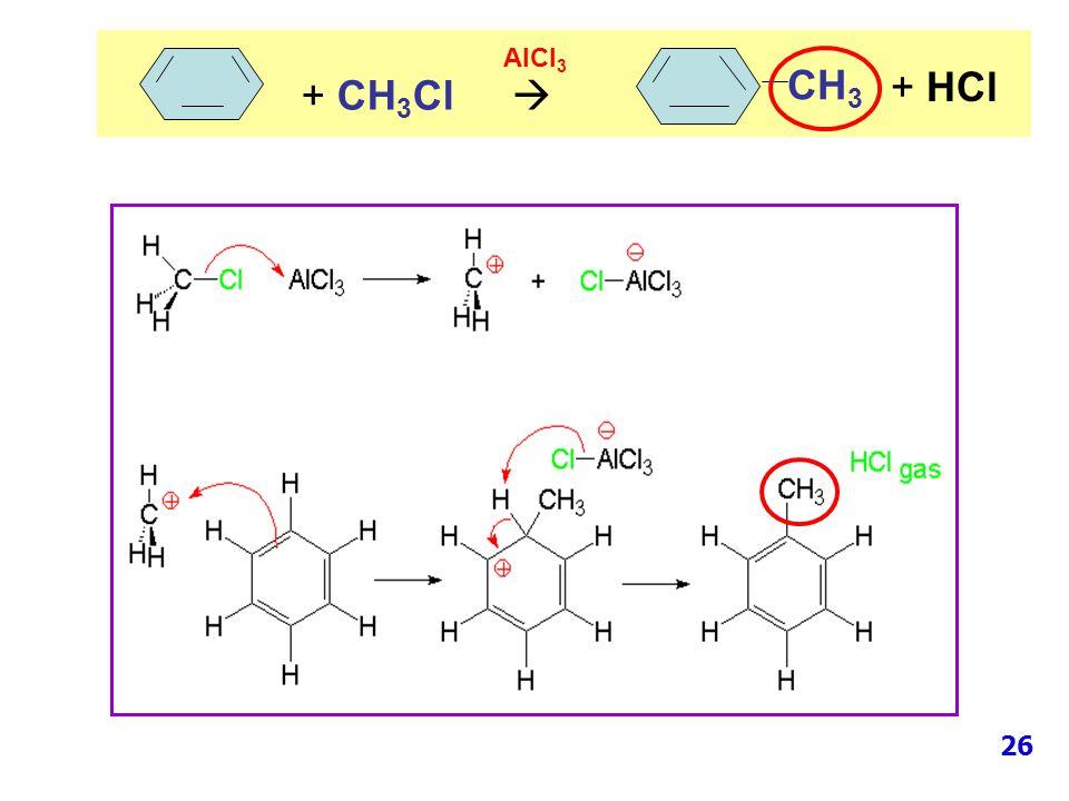 CH 3 + CH 3 Cl  AlCl 3 + HCl 26