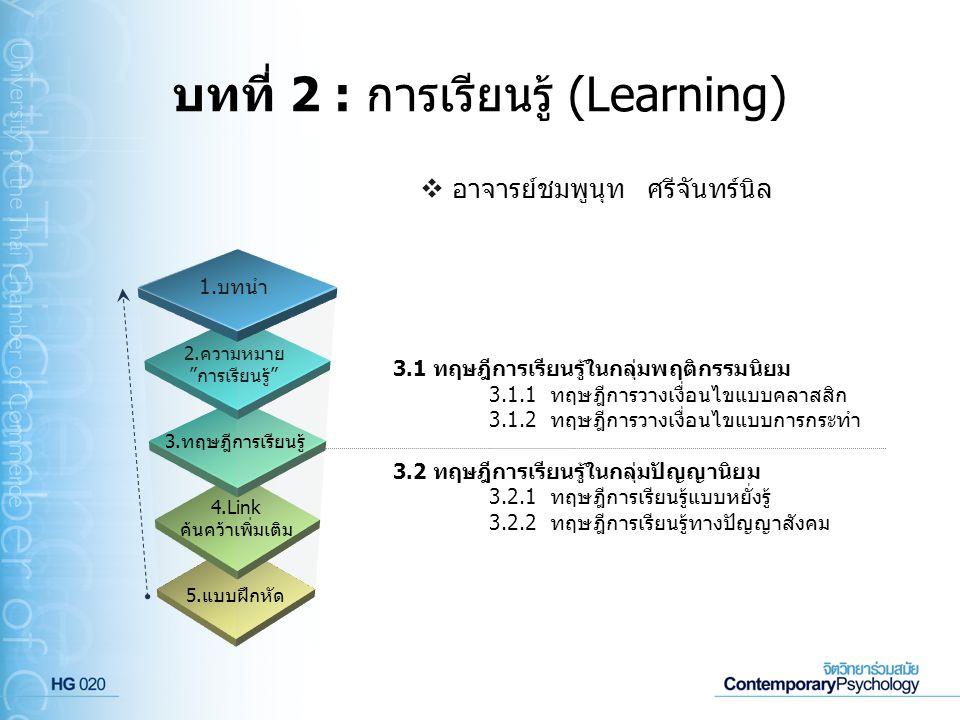 """บทที่ 2 : การเรียนรู้ (Learning) 5.แบบฝึกหัด 4.Link ค้นคว้าเพิ่มเติม 3.ทฤษฎีการเรียนรู้ 2.ความหมาย """"การเรียนรู้"""" 1.บทนำ 3.1 ทฤษฎีการเรียนรู้ในกลุ่มพฤต"""