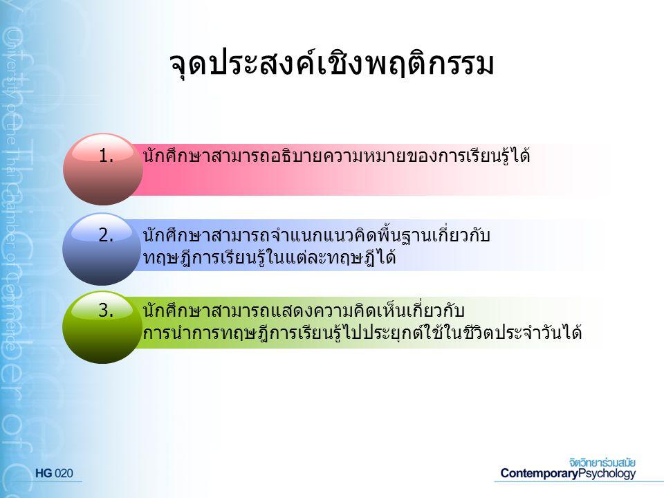 ประเภทของตัวเสริมแรง สิ่งที่มีศักยภาพเป็นตัวเสริมแรงได้นั้นมีดังต่อไปนี้ 2 ตัวเสริมแรงประเภทสิ่งของ (Material Reinforcers) 1 1 คือ การให้การเสริมแรงด้วยสิ่งของประเภทต่างๆ เช่น ของเล่น ของขวัญ อาหาร เป็นต้น ตัวเสริมแรงทางสังคม (Social Reinforcers) คือ การให้การเสริมแรงด้วยการพูดชมเชย และ การแสดงออกโดยใช้ท่าทาง เช่น การยิ้มให้ การโอบกอด การพยักหน้าแสดง การยอมรับ การมองด้วยความชื่นชม เป็นต้น