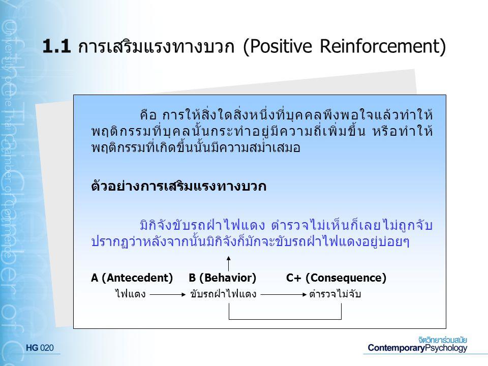 1.1 การเสริมแรงทางบวก (Positive Reinforcement) คือ การให้สิ่งใดสิ่งหนึ่งที่บุคคลพึงพอใจแล้วทำให้ พฤติกรรมที่บุคลนั้นกระทำอยู่มีความถี่เพิ่มขึ้น หรือทำ