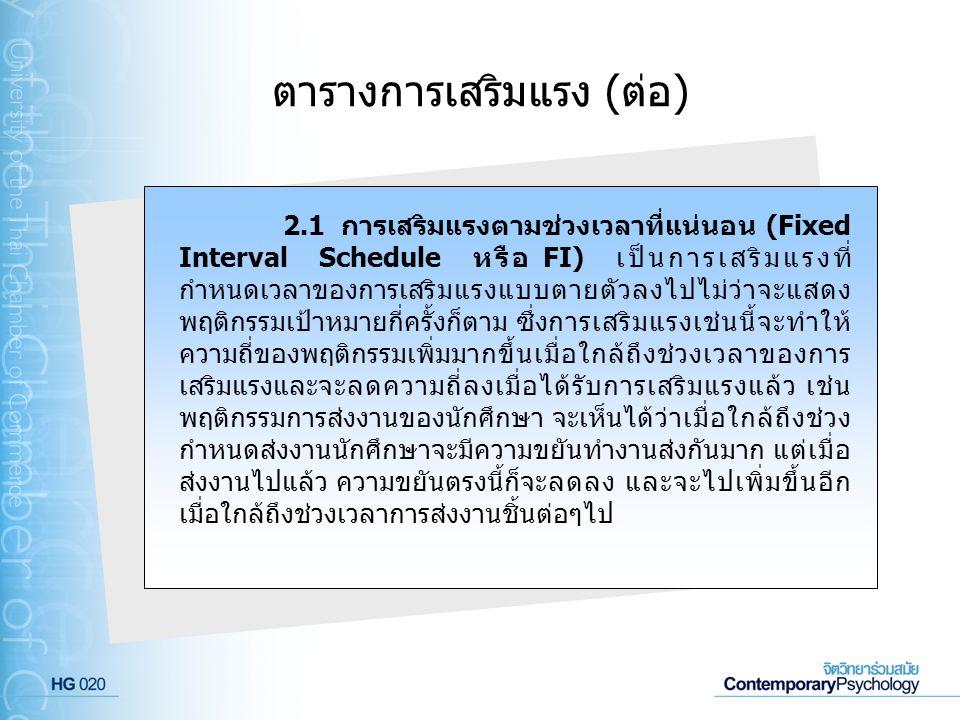 ตารางการเสริมแรง (ต่อ) 2.1 การเสริมแรงตามช่วงเวลาที่แน่นอน (Fixed Interval Schedule หรือ FI) เป็นการเสริมแรงที่ กำหนดเวลาของการเสริมแรงแบบตายตัวลงไปไม