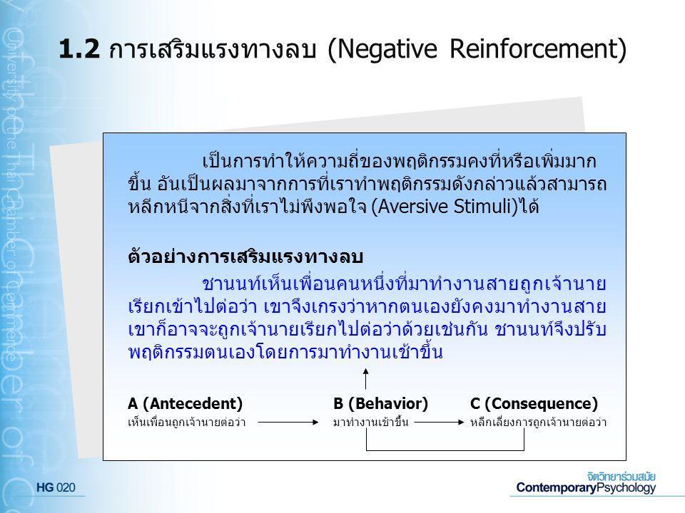 1.2 การเสริมแรงทางลบ (Negative Reinforcement) เป็นการทำให้ความถี่ของพฤติกรรมคงที่หรือเพิ่มมาก ขึ้น อันเป็นผลมาจากการที่เราทำพฤติกรรมดังกล่าวแล้วสามารถ