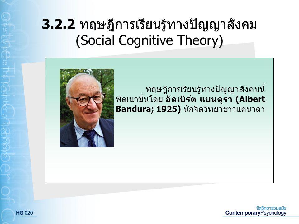ทฤษฎีการเรียนรู้ทางปัญญาสังคมนี้ พัฒนาขึ้นโดย อัลเบิร์ต แบนดูรา (Albert Bandura; 1925) นักจิตวิทยาชาวแคนาดา 3.2.2 ทฤษฎีการเรียนรู้ทางปัญญาสังคม (Socia
