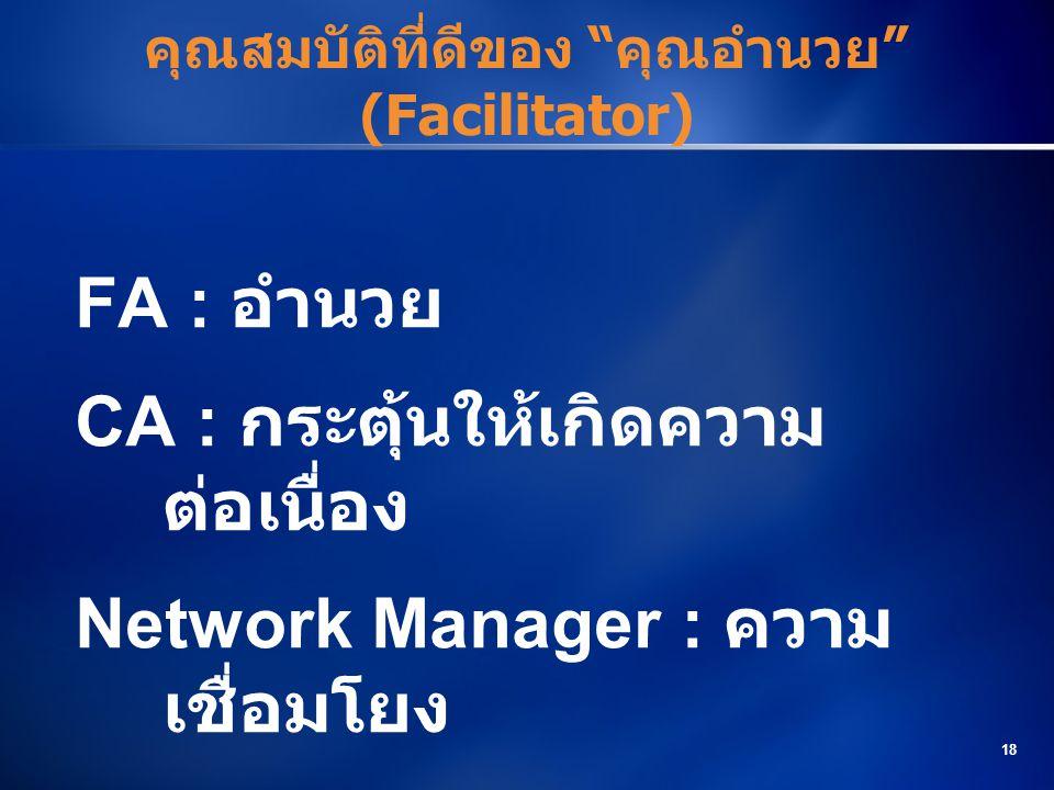 """18 คุณสมบัติที่ดีของ """"คุณอำนวย"""" (Facilitator) FA : อำนวย CA : กระตุ้นให้เกิดความ ต่อเนื่อง Network Manager : ความ เชื่อมโยง"""