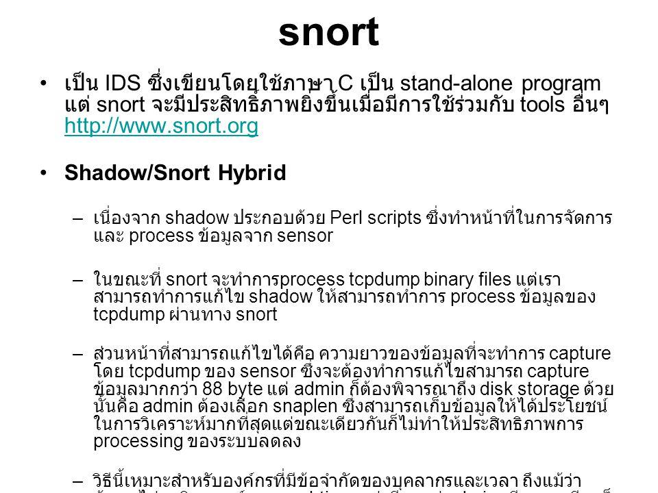 snort เป็น IDS ซึ่งเขียนโดยใช้ภาษา C เป็น stand-alone program แต่ snort จะมีประสิทธิ์ภาพยิ่งขึ้นเมื่อมีการใช้ร่วมกับ tools อื่นๆ http://www.snort.org