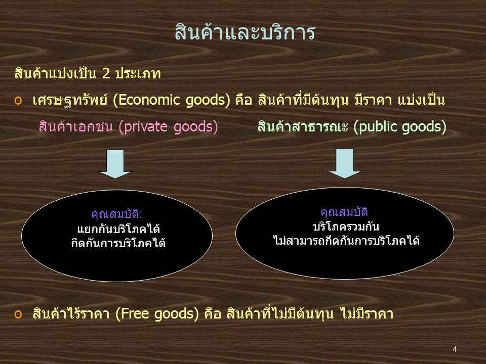 สินค้าและบริการ สินค้าแบ่งเป็น 2 ประเภท oเศรษฐทรัพย์ (Economic goods) คือ สินค้าที่มีต้นทุน มีราคา แบ่งเป็น สินค้าเอกชน (private goods)สินค้าสาธารณะ (