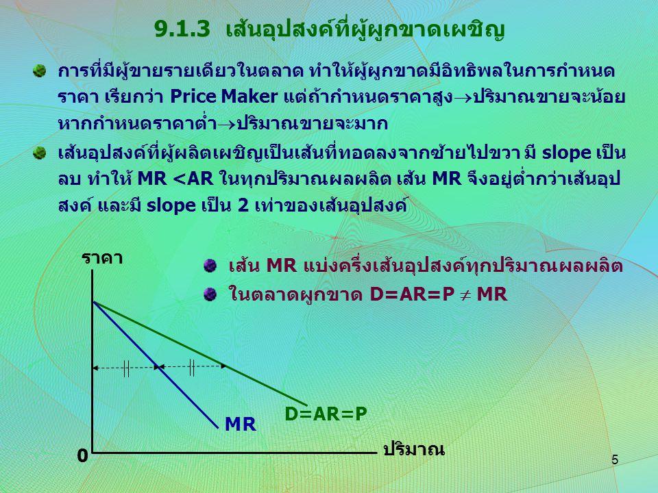 9.1.3 เส้นอุปสงค์ที่ผู้ผูกขาดเผชิญ การที่มีผู้ขายรายเดียวในตลาด ทำให้ผู้ผูกขาดมีอิทธิพลในการกำหนด ราคา เรียกว่า Price Maker แต่ถ้ากำหนดราคาสูง  ปริมา