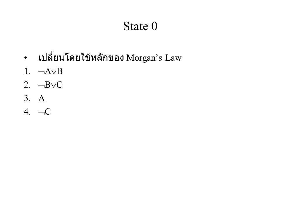 State 0 เปลี่ยนโดยใช้หลักของ Morgan's Law 1.  A  B 2.  B  C 3.A 4.  C