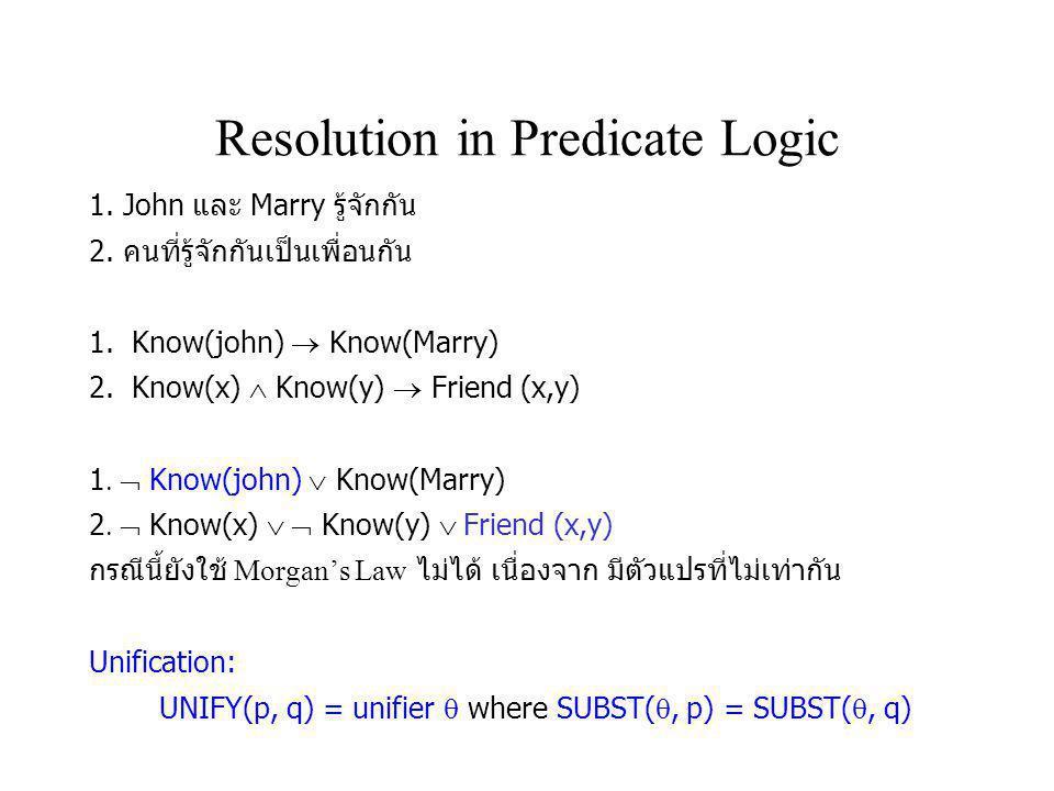 Resolution in Predicate Logic 1. John และ Marry รู้จักกัน 2. คนที่รู้จักกันเป็นเพื่อนกัน 1. Know(john)  Know(Marry) 2. Know(x)  Know(y)  Friend (x,
