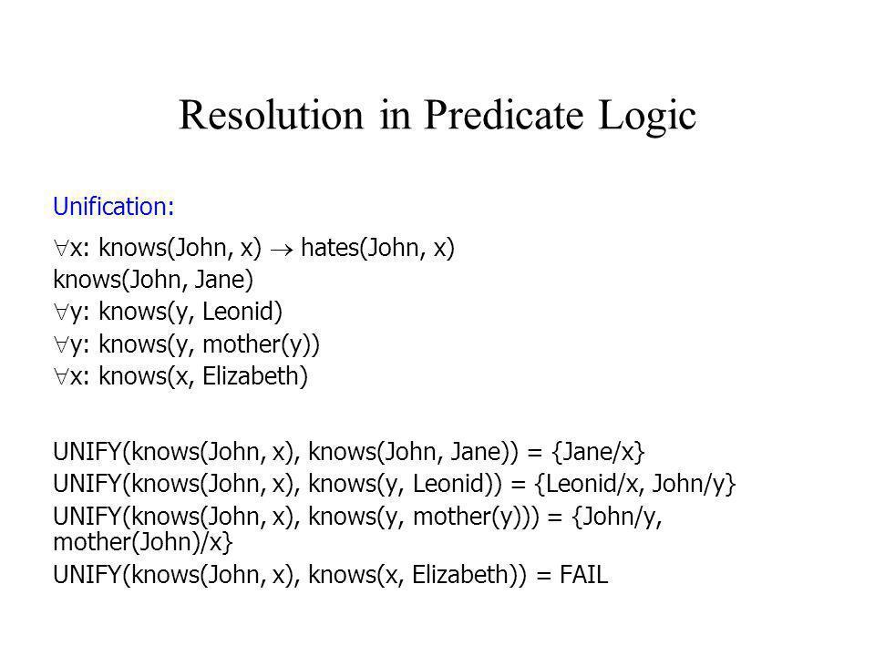 Resolution in Predicate Logic Unification:  x: knows(John, x)  hates(John, x) knows(John, Jane)  y: knows(y, Leonid)  y: knows(y, mother(y))  x: knows(x, Elizabeth) UNIFY(knows(John, x), knows(John, Jane)) = {Jane/x} UNIFY(knows(John, x), knows(y, Leonid)) = {Leonid/x, John/y} UNIFY(knows(John, x), knows(y, mother(y))) = {John/y, mother(John)/x} UNIFY(knows(John, x), knows(x, Elizabeth)) = FAIL