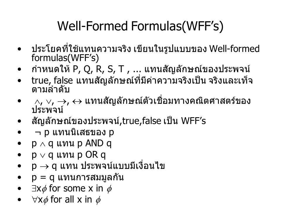Well-Formed Formulas(WFF's) Precedence Rules 1., 2.