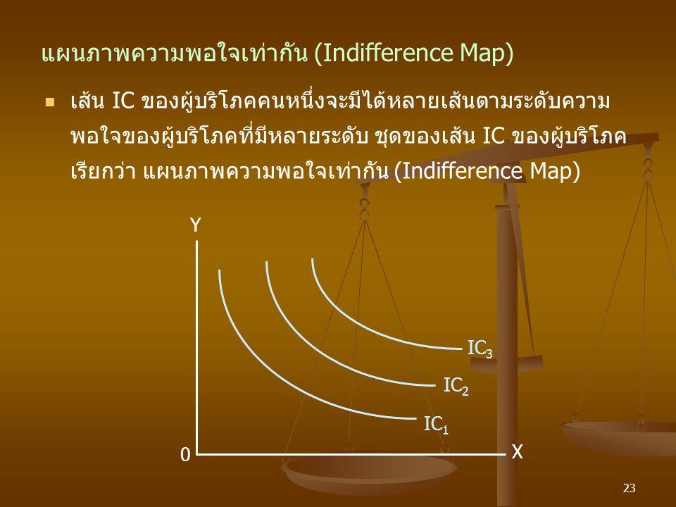 23 แผนภาพความพอใจเท่ากัน (Indifference Map) เส้น IC ของผู้บริโภคคนหนึ่งจะมีได้หลายเส้นตามระดับความ พอใจของผู้บริโภคที่มีหลายระดับ ชุดของเส้น IC ของผู้