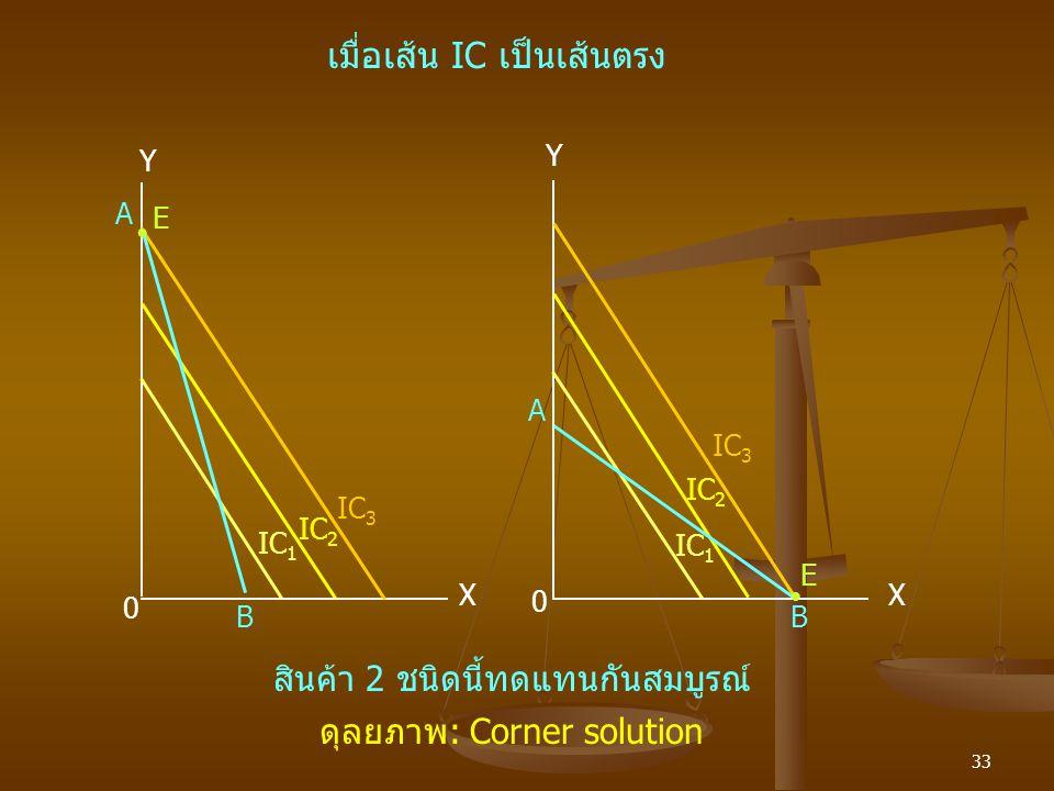 33 Y IC 3 A Y IC 2  IC 1 E A E  X 0 B X B IC 2 IC 3 0 เมื่อเส้น IC เป็นเส้นตรง สินค้า 2 ชนิดนี้ทดแทนกันสมบูรณ์ ดุลยภาพ: Corner solution