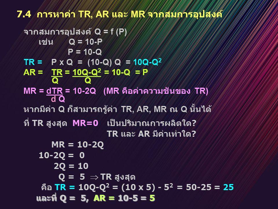 7.4 การหาค่า TR, AR และ MR จากสมการอุปสงค์ จากสมการอุปสงค์ Q = f (P) เช่น Q = 10-P P = 10-Q TR = P x Q = (10-Q) Q = 10Q-Q 2 AR = TR = 10Q-Q 2 = 10-Q =