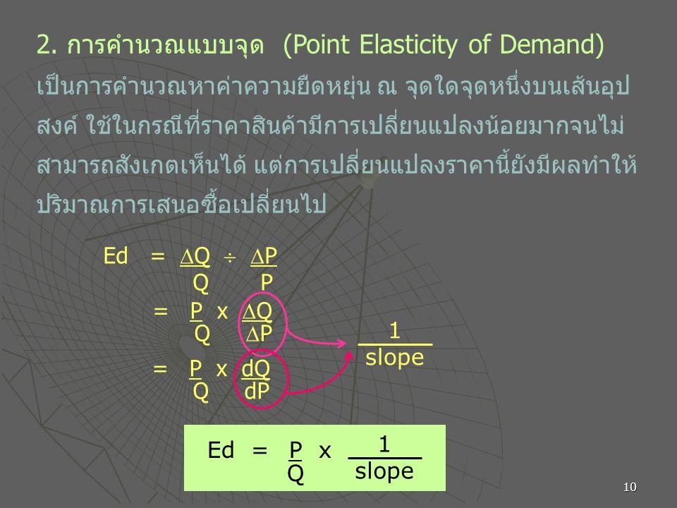 10 2. การคำนวณแบบจุด (Point Elasticity of Demand) เป็นการคำนวณหาค่าความยืดหยุ่น ณ จุดใดจุดหนึ่งบนเส้นอุป สงค์ ใช้ในกรณีที่ราคาสินค้ามีการเปลี่ยนแปลงน้