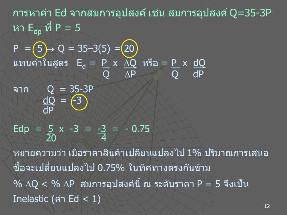 12 การหาค่า Ed จากสมการอุปสงค์ เช่น สมการอุปสงค์ Q=35-3P หา E dp ที่ P = 5 P = 5  Q = 35–3(5) = 20 แทนค่าในสูตร E d = P x  Q หรือ = P x dQ Q  P Q dP จาก Q = 35-3P dQ = -3 dP Edp = 5 x -3 = -3 = - 0.75 20 4 หมายความว่า เมื่อราคาสินค้าเปลี่ยนแปลงไป 1% ปริมาณการเสนอ ซื้อจะเปลี่ยนแปลงไป 0.75% ในทิศทางตรงกันข้าม %  Q < %  P สมการอุปสงค์นี้ ณ ระดับราคา P = 5 จึงเป็น Inelastic (ค่า Ed < 1)