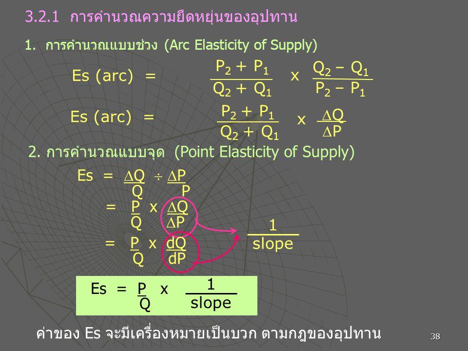 38 3.2.1 การคำนวณความยืดหยุ่นของอุปทาน 1. การคำนวณแบบช่วง (Arc Elasticity of Supply) P 2 + P 1 Q 2 + Q 1 x Q 2 – Q 1 P 2 – P 1 Es (arc) = P 2 + P 1 Q