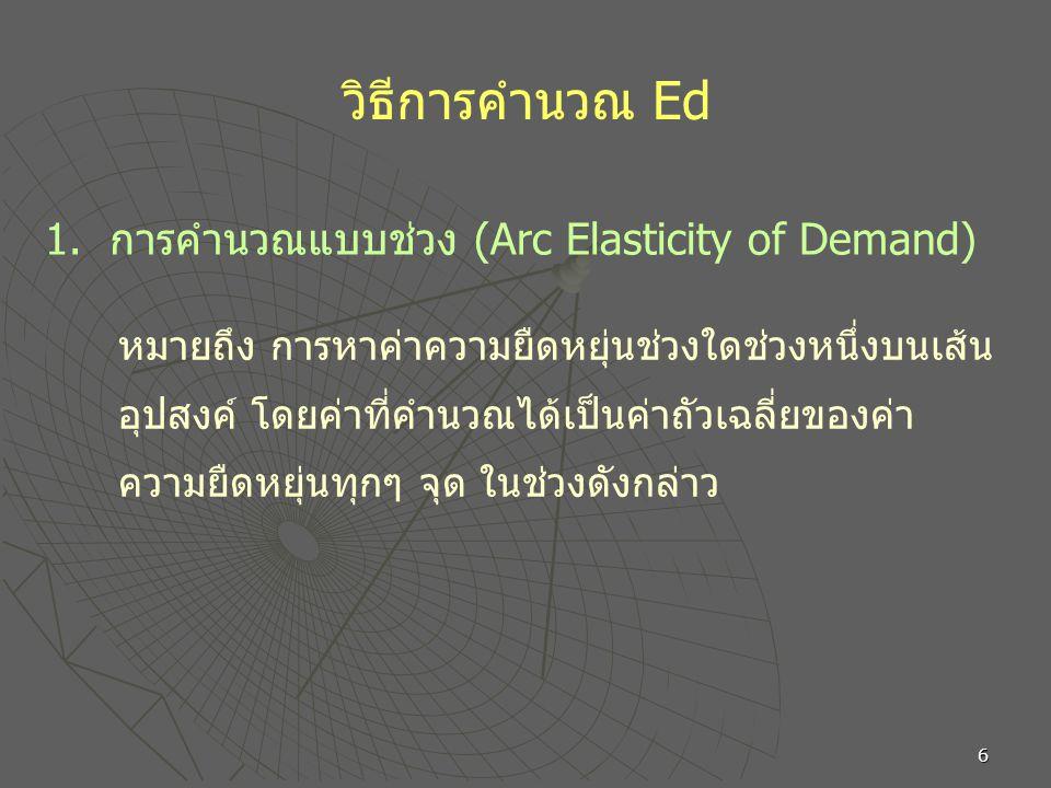 6 วิธีการคำนวณ Ed หมายถึง การหาค่าความยืดหยุ่นช่วงใดช่วงหนึ่งบนเส้น อุปสงค์ โดยค่าที่คำนวณได้เป็นค่าถัวเฉลี่ยของค่า ความยืดหยุ่นทุกๆ จุด ในช่วงดังกล่าว 1.