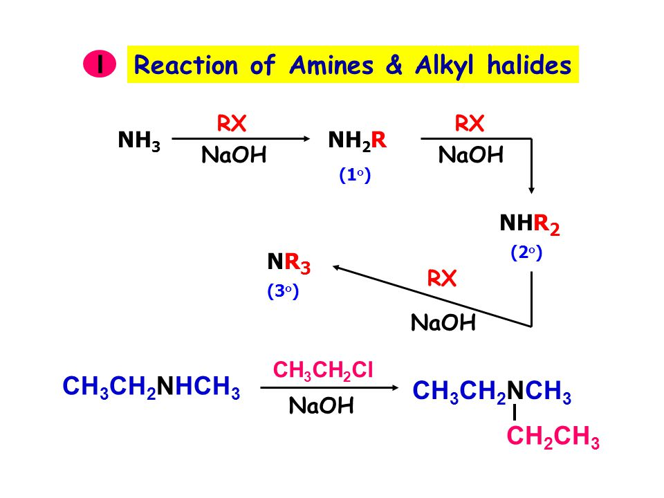 Reaction of Amines & Alkyl halides I NH 3 RX NaOH NH 2 R RX NaOH NHR 2 RX NaOH NR3NR3 (1 ๐ ) (2 ๐ ) (3 ๐ ) CH 3 CH 2 NHCH 3 CH 3 CH 2 NCH 3 CH 2 CH 3 CH 3 CH 2 Cl NaOH