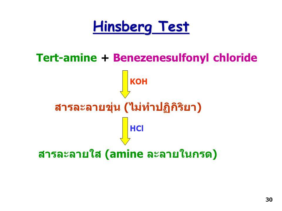 Hinsberg Test Tert-amine + Benezenesulfonyl chloride KOH สารละลายใส (amine ละลายในกรด) HCl สารละลายขุ่น (ไม่ทำปฏิกิริยา) 30