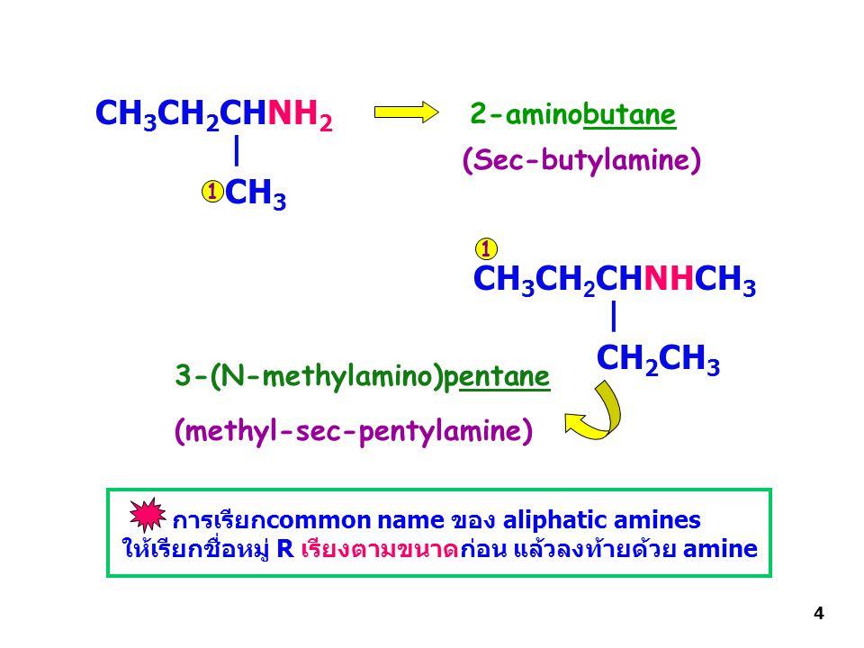 CH 3 CH 2 CHNH 2 CH 3 2-aminobutane CH 3 CH 2 CHNHCH 3 CH 2 CH 3 3-(N-methylamino)pentane (Sec-butylamine) (methyl-sec-pentylamine) | | 1 1 การเรียกcommon name ของ aliphatic amines ให้เรียกชื่อหมู่ R เรียงตามขนาดก่อน แล้วลงท้ายด้วย amine 4