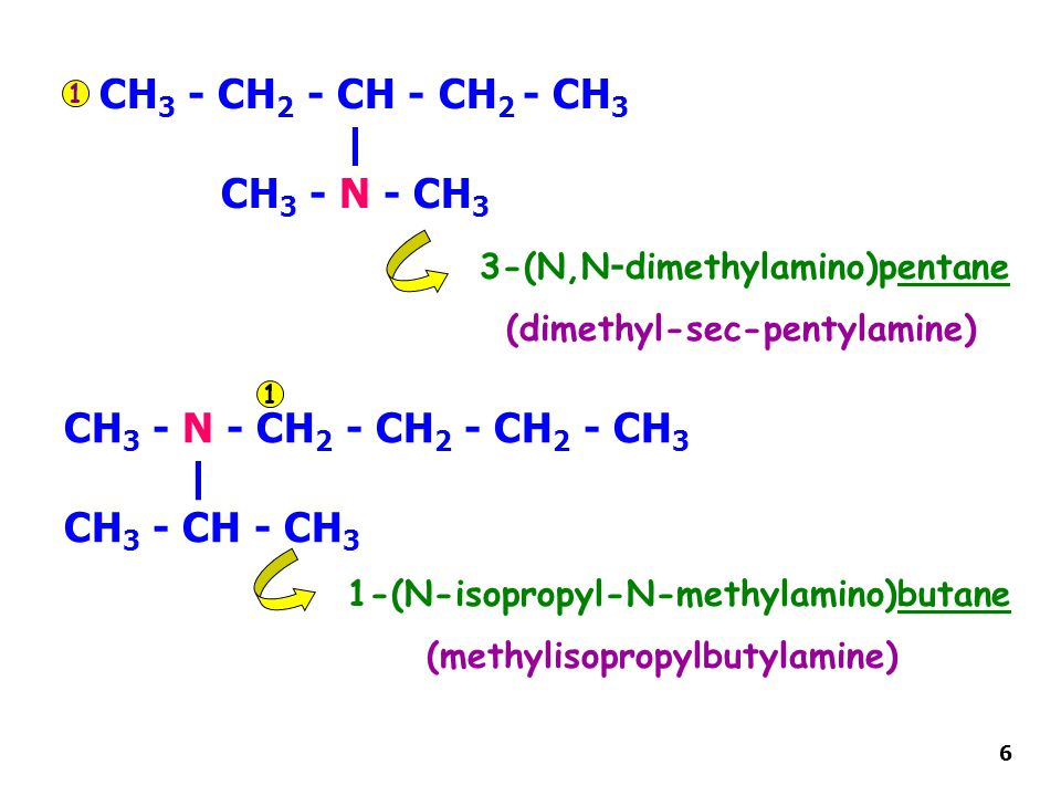 CH 3 - CH 2 - CH - CH 2 - CH 3 | CH 3 - N - CH 3 3-(N,N-dimethylamino)pentane CH 3 - N - CH 2 - CH 2 - CH 2 - CH 3 | CH 3 - CH - CH 3 1-(N-isopropyl-N-methylamino)butane 1 1 (dimethyl-sec-pentylamine) (methylisopropylbutylamine) 6
