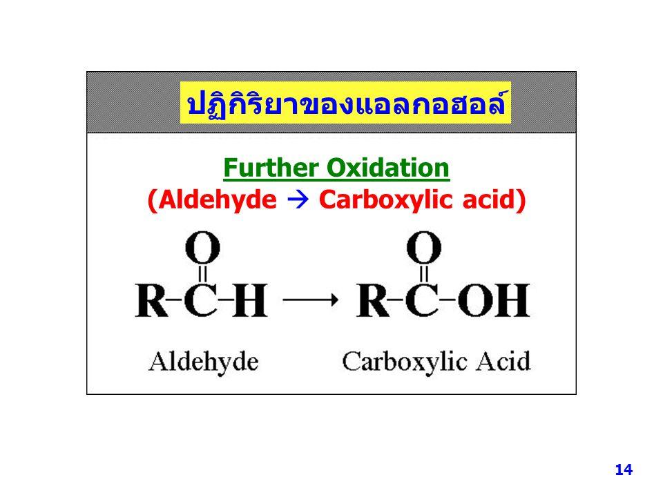 ปฏิกิริยาของแอลกอฮอล์ 3. Oxidation Further Oxidation (Aldehyde  Carboxylic acid) 14