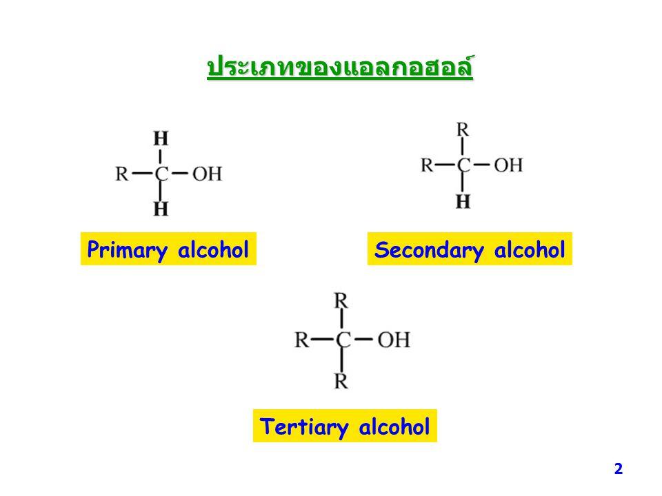 ประเภทของแอลกอฮอล์ Primary alcoholSecondary alcohol Tertiary alcohol 2