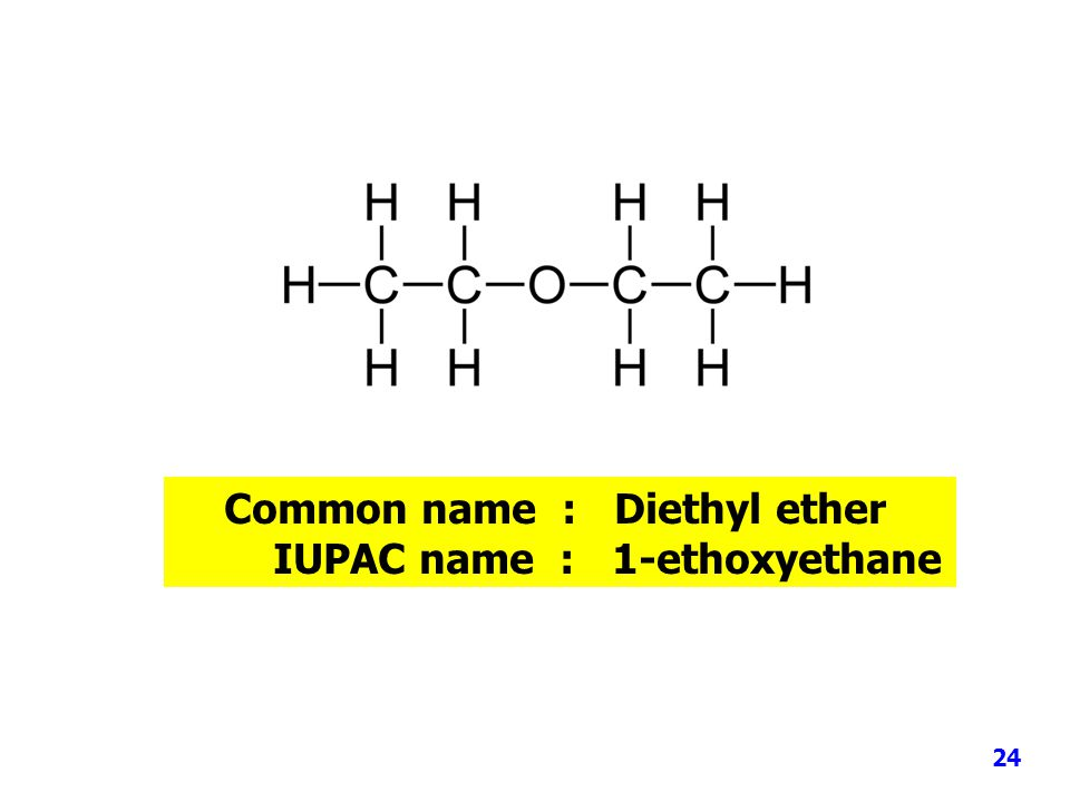 Common name : Diethyl ether IUPAC name : 1-ethoxyethane 24