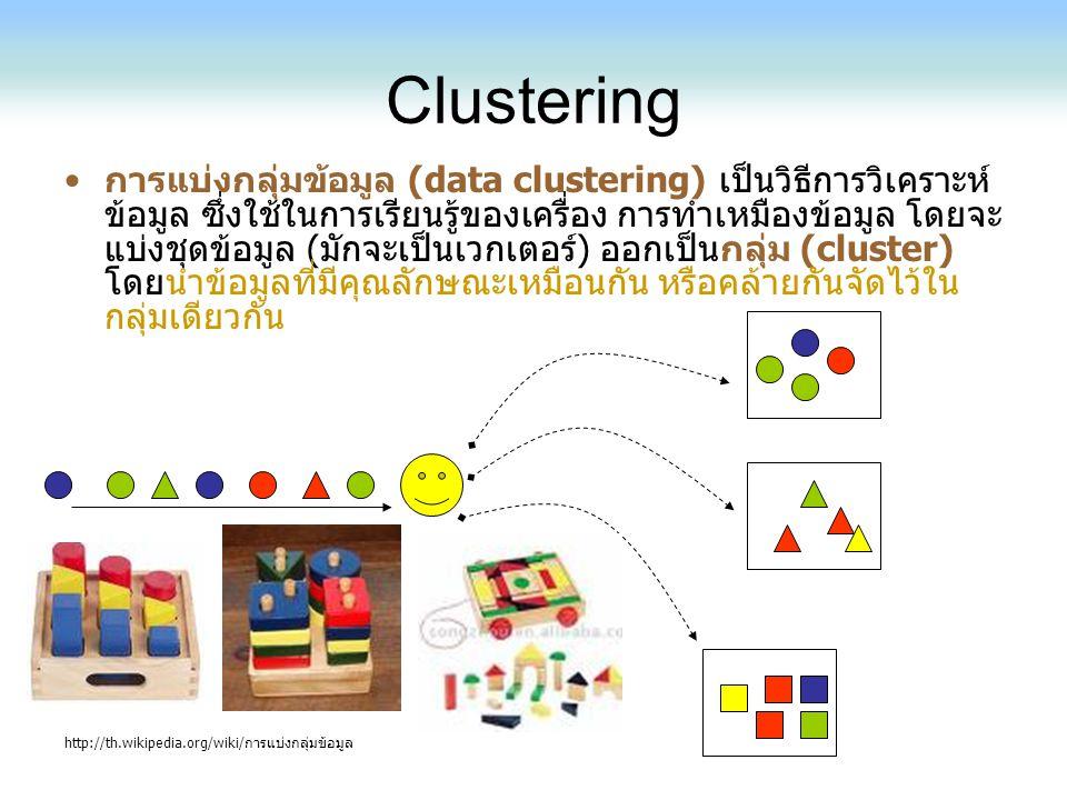Clustering การแบ่งกลุ่มข้อมูล (data clustering) เป็นวิธีการวิเคราะห์ ข้อมูล ซึ่งใช้ในการเรียนรู้ของเครื่อง การทำเหมืองข้อมูล โดยจะ แบ่งชุดข้อมูล (มักจ