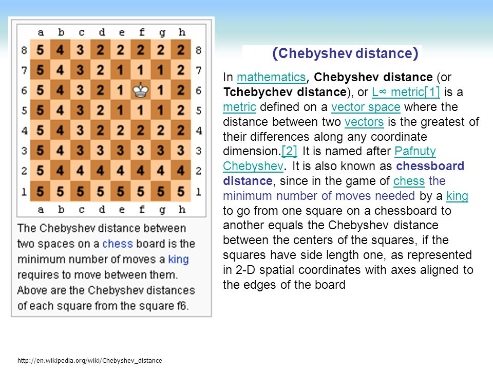 http://en.wikipedia.org/wiki/Chebyshev_distance (Chebyshev distance) In mathematics, Chebyshev distance (or Tchebychev distance), or L∞ metric[1] is a