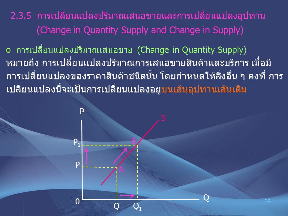 28 2.3.5 การเปลี่ยนแปลงปริมาณเสนอขายและการเปลี่ยนแปลงอุปทาน (Change in Quantity Supply and Change in Supply) o การเปลี่ยนแปลงปริมาณเสนอขาย (Change in