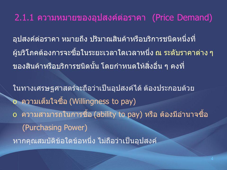4 2.1.1ความหมายของอุปสงค์ต่อราคา (Price Demand) อุปสงค์ต่อราคา หมายถึง ปริมาณสินค้าหรือบริการชนิดหนึ่งที่ ผู้บริโภคต้องการจะซื้อในระยะเวลาใดเวลาหนึ่ง