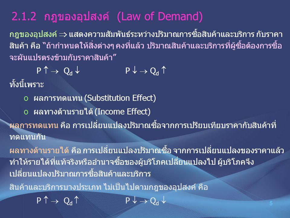 """5 2.1.2 กฎของอุปสงค์ (Law of Demand) กฎของอุปสงค์  แสดงความสัมพันธ์ระหว่างปริมาณการซื้อสินค้าและบริการ กับราคา สินค้า คือ """"ถ้ากำหนดให้สิ่งต่างๆ คงที่"""