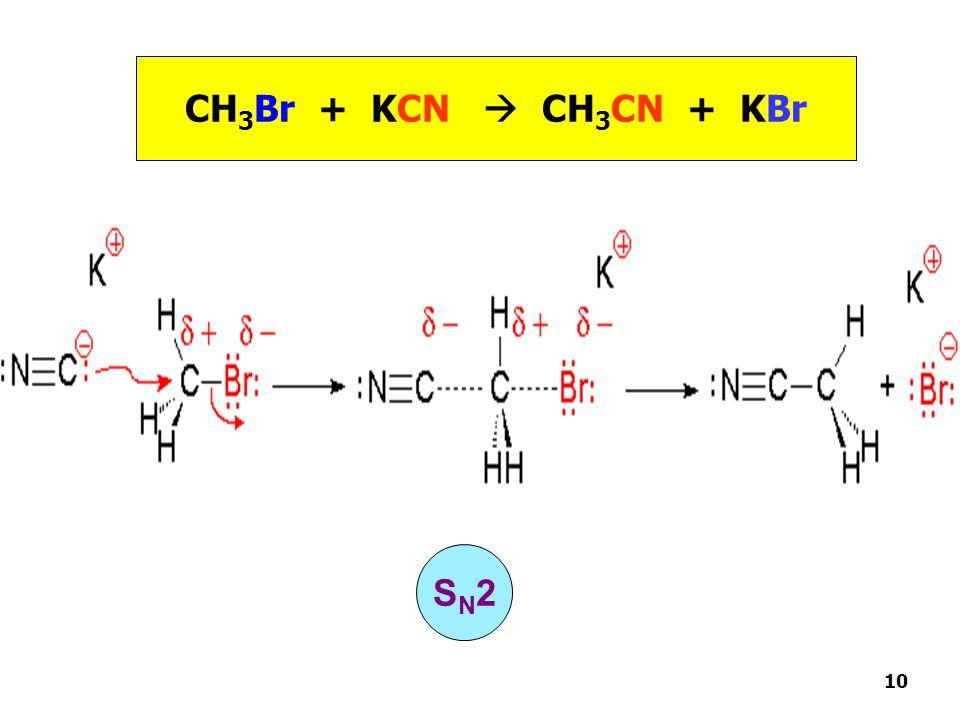 CH 3 Br + KCN  CH 3 CN + KBr S N 2 10