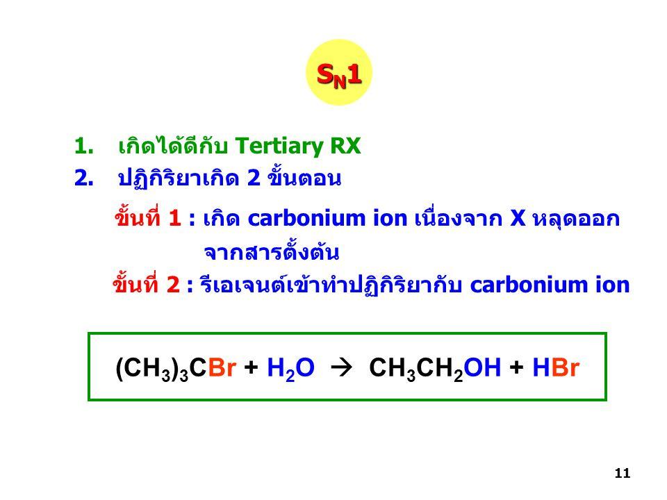1.เกิดได้ดีกับ Tertiary RX 2.ปฏิกิริยาเกิด 2 ขั้นตอน ขั้นที่ 1 : เกิด carbonium ion เนื่องจาก X หลุดออก จากสารตั้งต้น ขั้นที่ 2 : รีเอเจนต์เข้าทำปฏิกิริยากับ carbonium ion SN1SN1SN1SN1 (CH 3 ) 3 CBr + H 2 O  CH 3 CH 2 OH + HBr 11