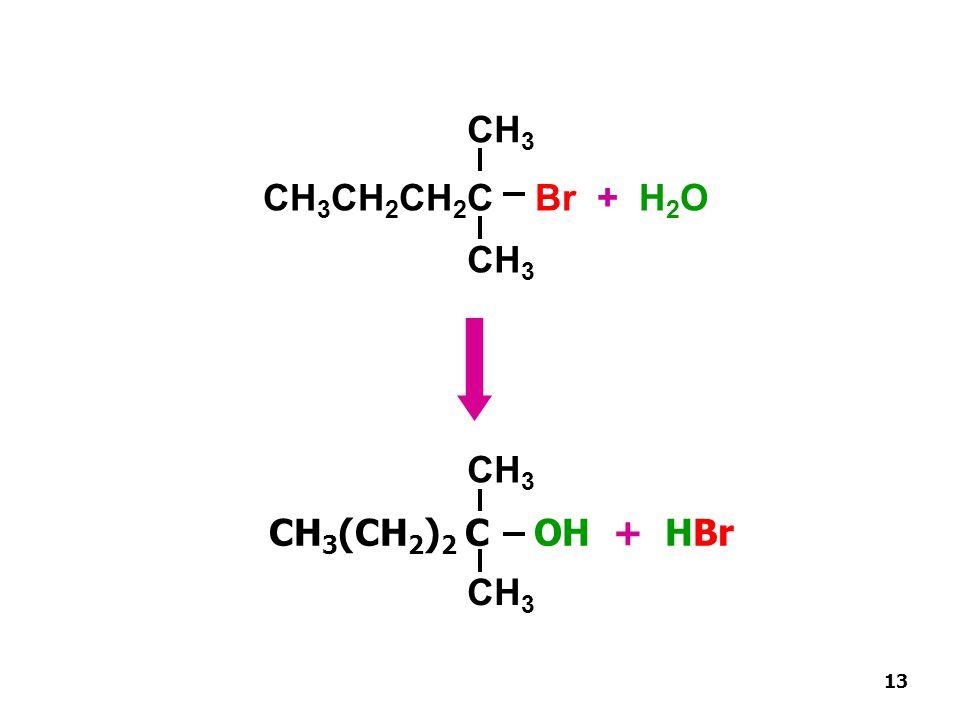 CH 3 (CH 2 ) 2 C OH + HBr 13 CH 3 CH 3 CH 2 CH 2 C Br + H 2 O