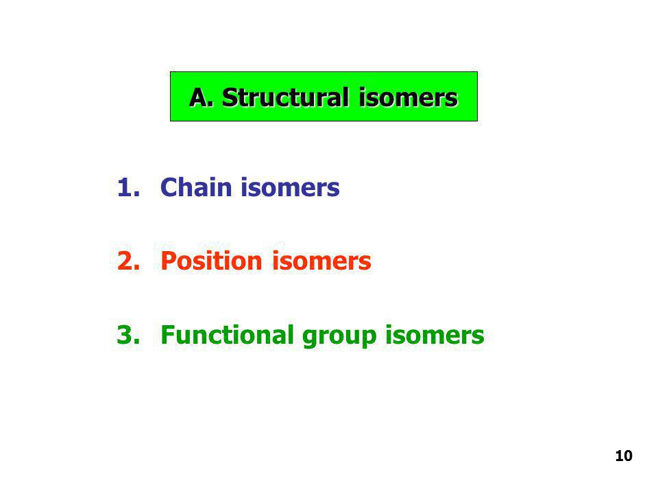 A. Structural isomers 1.Chain isomers 2.Position isomers 3.Functional group isomers 10