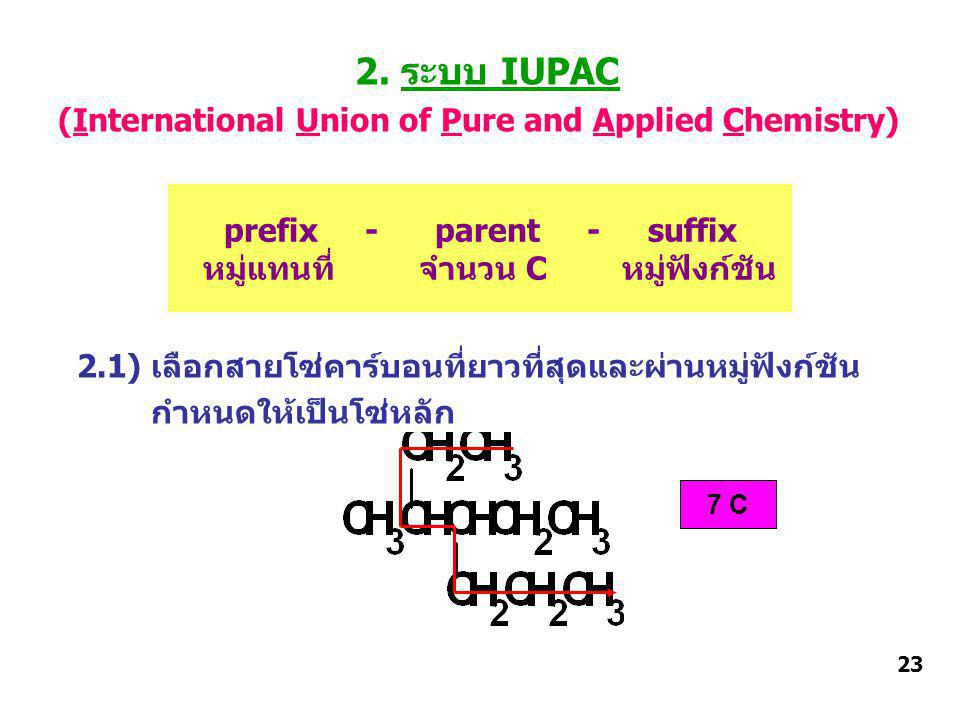 2. ระบบ IUPAC (International Union of Pure and Applied Chemistry) 2.1) เลือกสายโซ่คาร์บอนที่ยาวที่สุดและผ่านหมู่ฟังก์ชัน กำหนดให้เป็นโซ่หลัก prefix -
