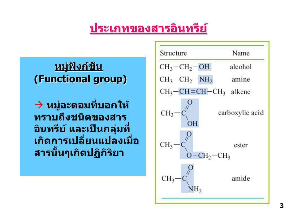 ประเภทของสารอินทรีย์ หมู่ฟังก์ชัน (Functional group)  หมู่อะตอมที่บอกให้ ทราบถึงชนิดของสาร อินทรีย์ และเป็นกลุ่มที่ เกิดการเปลี่ยนแปลงเมื่อ สารนั้นๆเกิดปฏิกิริยา 3