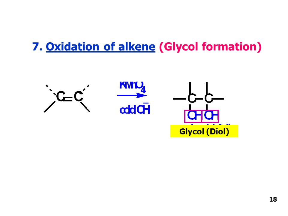 7. Oxidation of alkene (Glycol formation) Glycol (Diol) 18