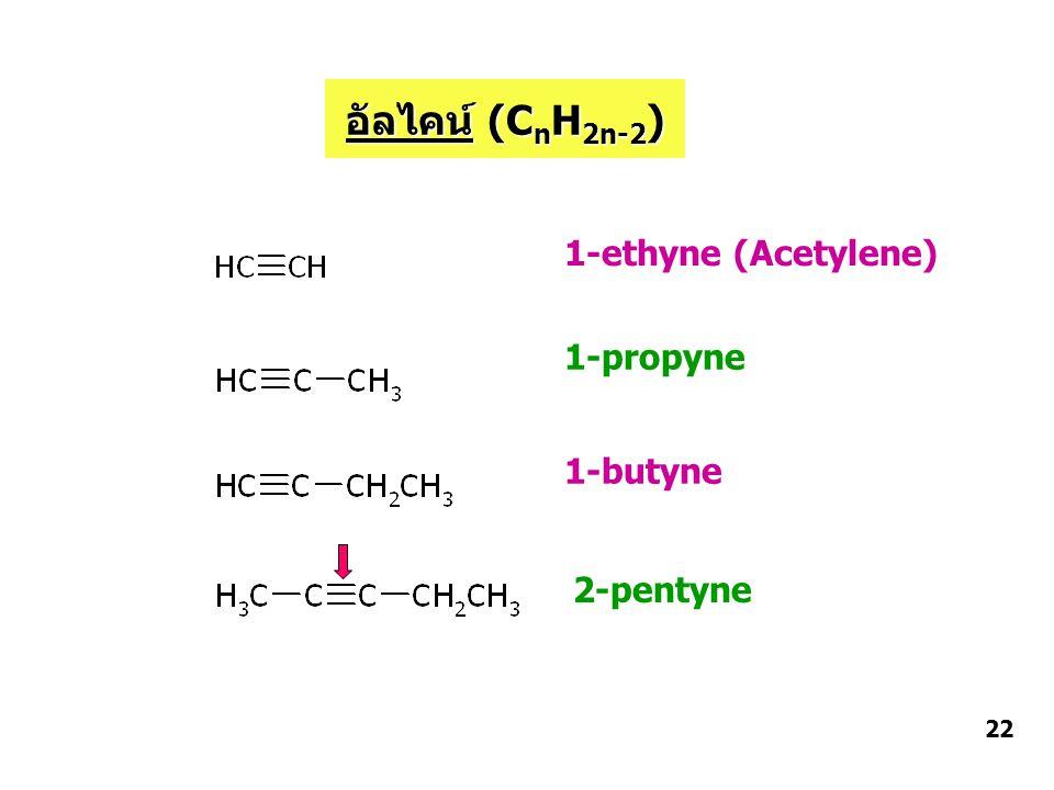 1-ethyne (Acetylene) 1-propyne 2-pentyne 1-butyne อัลไคน์ (C n H 2n-2 ) 22