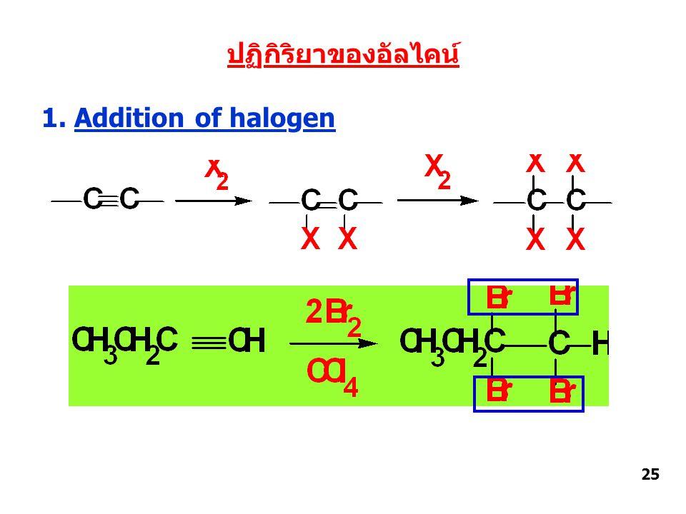 ปฏิกิริยาของอัลไคน์ 1. Addition of halogen 25