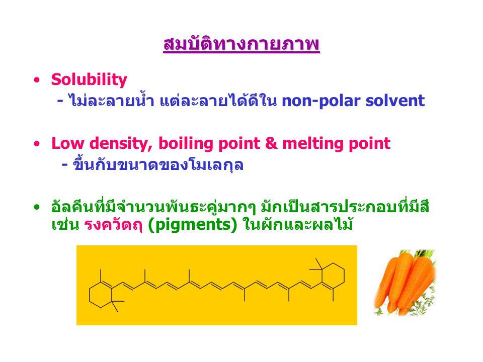 สมบัติทางกายภาพ Solubility - ไม่ละลายน้ำ แต่ละลายได้ดีใน non-polar solvent Low density, boiling point & melting point - ขึ้นกับขนาดของโมเลกุล อัลคีนที