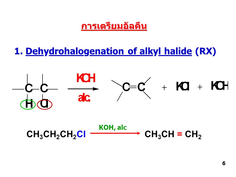 การเตรียมอัลคีน 1. Dehydrohalogenation of alkyl halide (RX) 6 CH 3 CH 2 CH 2 ClCH 3 CH = CH 2 KOH, alc