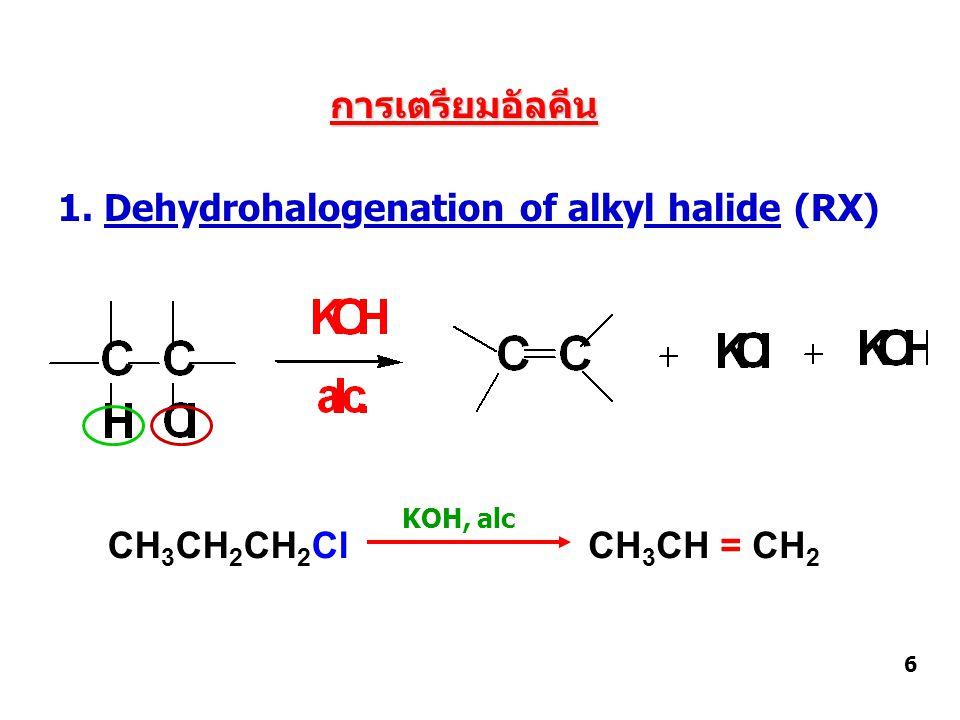 2. Dehydration of alcohol 7 CH 3 CHCH 3 CH 3 CH = CH 2 OH H+H+ Heat